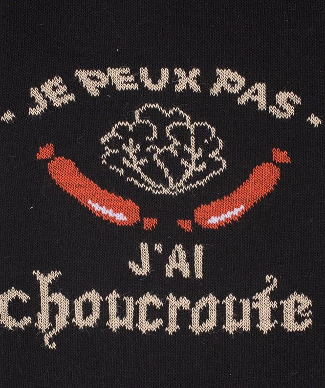 Chaussettes J'peux pas, j'ai choucroute Coton Noir
