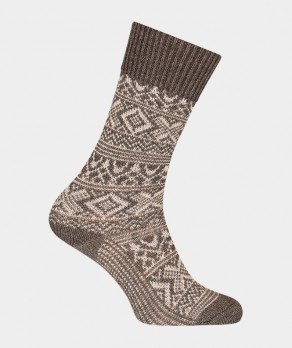 Chaussettes Motifs norvégien bicolores épaisses Polyamide Marron
