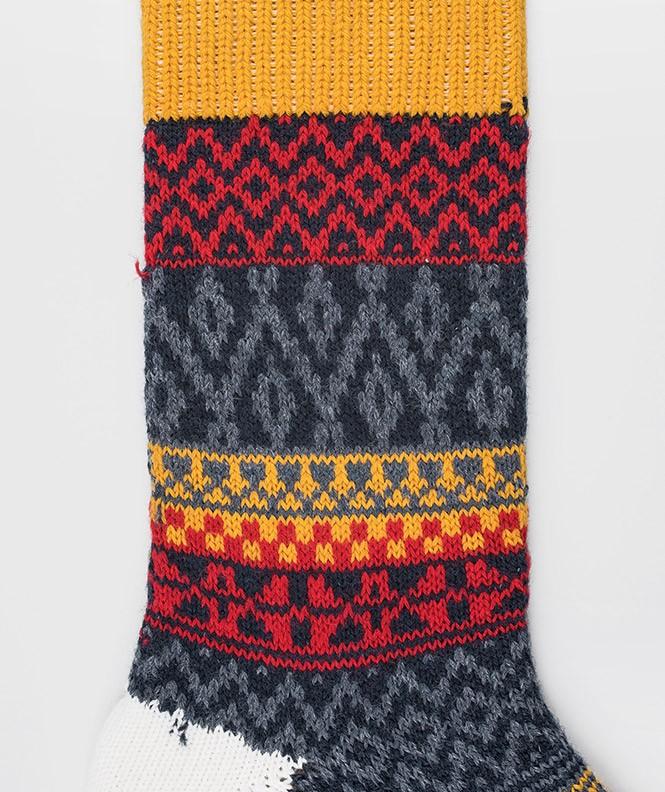 Chaussettes Grosses mailles motifs norvégiens colorés Laine Beige