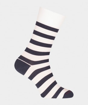 Chaussettes Rayures marin Laine Blanc