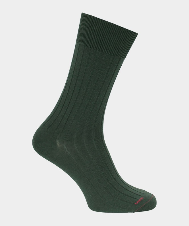 Chaussettes À côtes Laine Vert