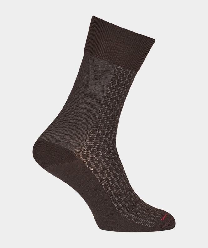 Chaussettes Ajourées bicolores vertical Laine Marron