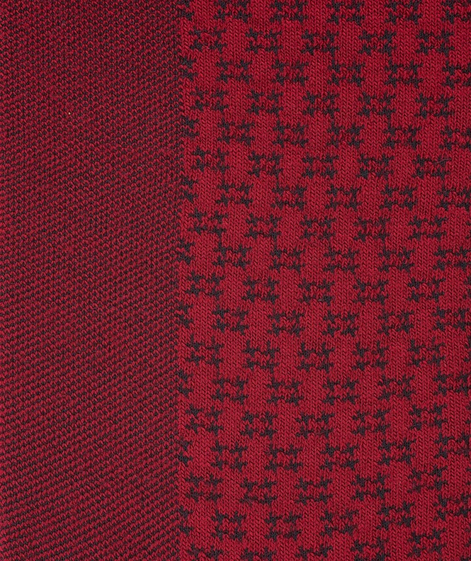 Chaussettes Ajourées bicolores vertical Laine Rouge