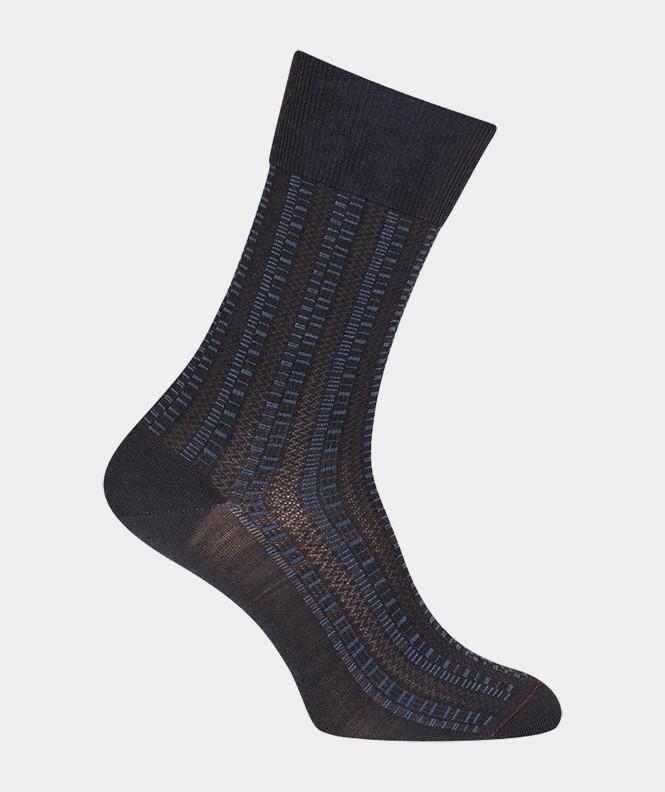 Chaussettes Ajourées all over géométriques Laine Bleu