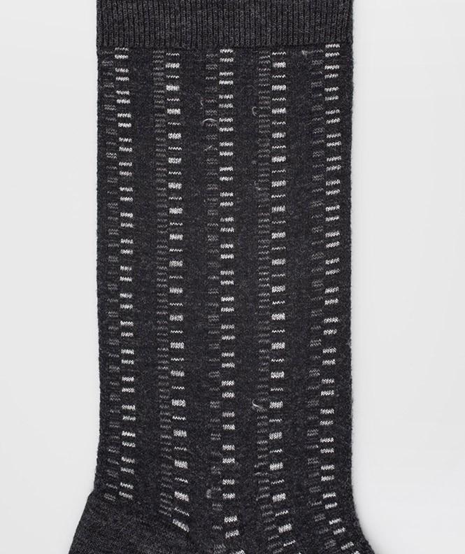 Chaussettes Ajourées all over géométriques Laine Gris