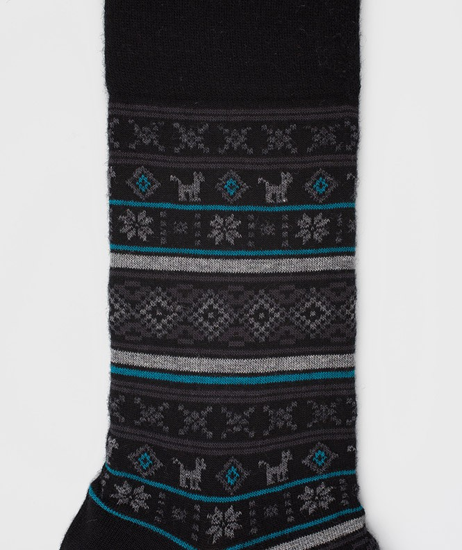 Chaussettes Motifs incas Laine Noir