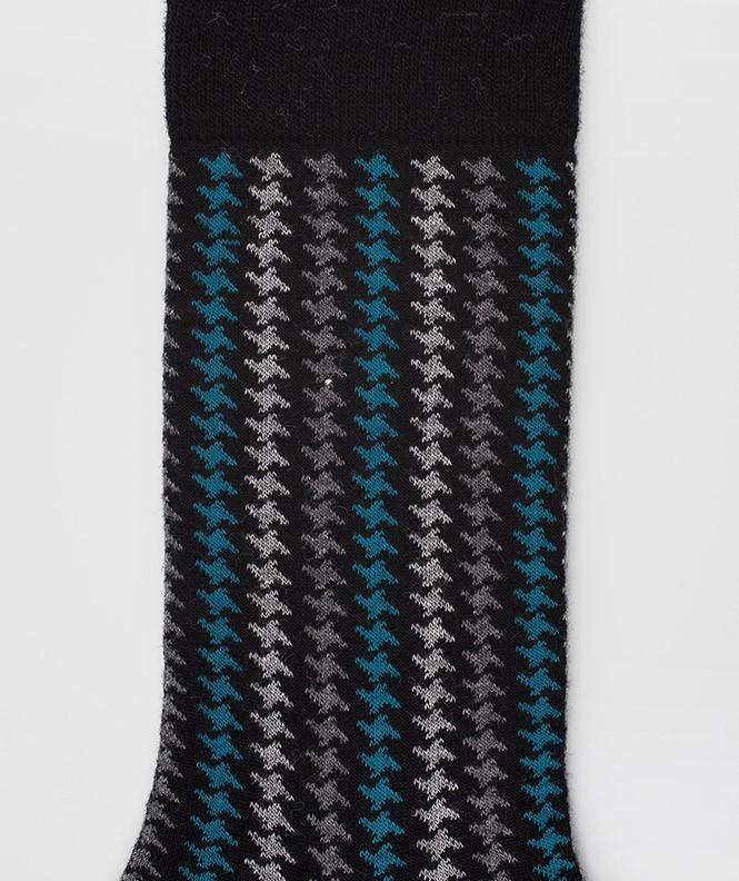 Chaussettes Pied de poule vertical Laine Noir