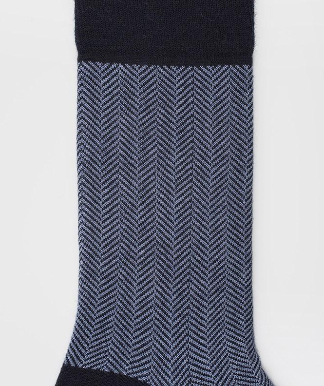 Chaussettes Chevrons Laine Bleu