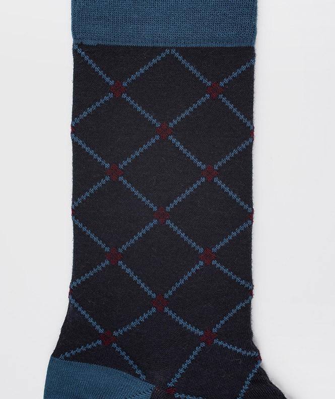 Chaussettes Croisillons Laine Bleu