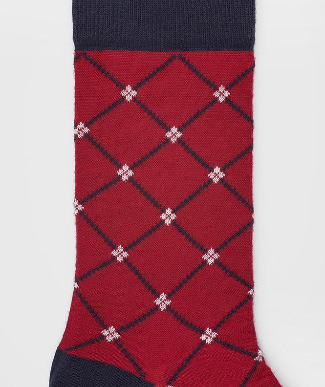 Chaussettes Croisillons Laine Rouge
