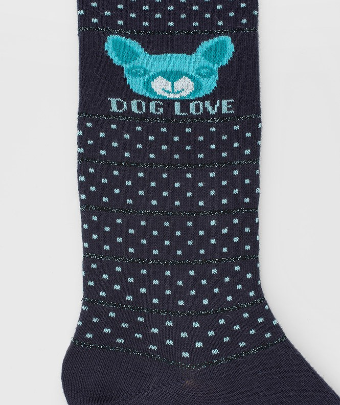 Mi-bas Love dog Coton Bleu