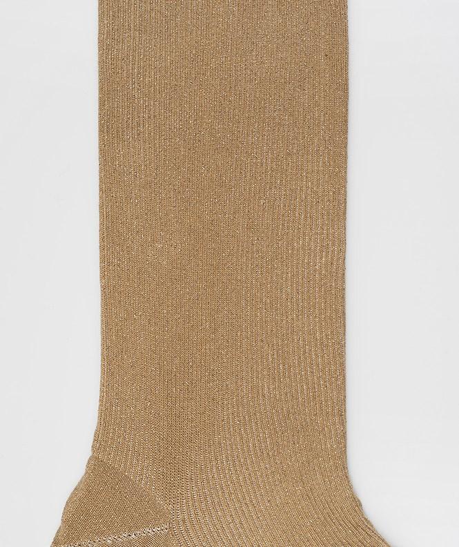 Chaussettes Brillantes à côtes Coton Beige