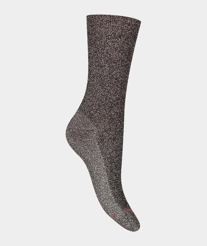 Chaussettes Brillantes à côtes Coton Noir