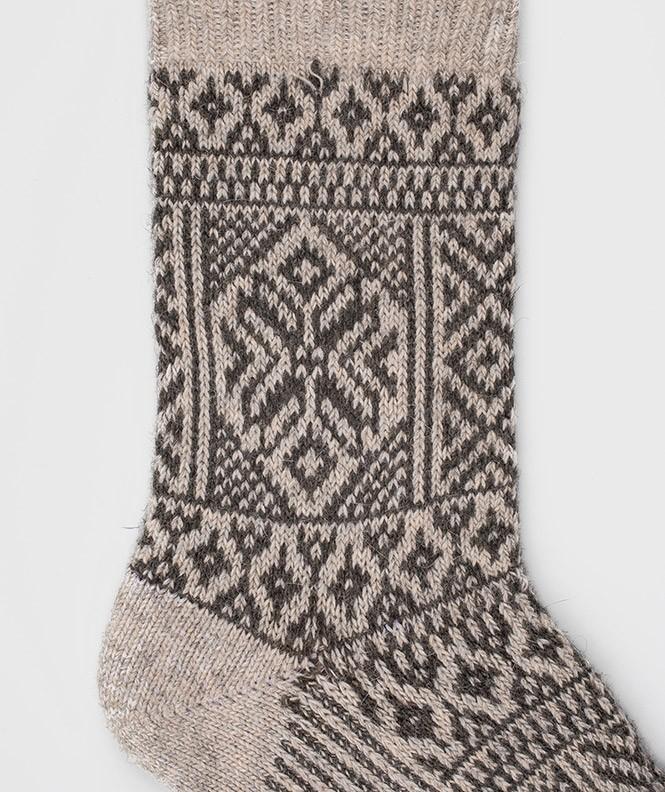 Chaussettes Grosses mailles motifs norvégiens Angora Beige