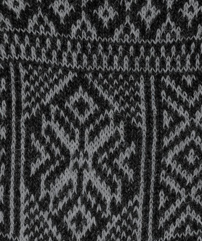 Chaussettes Grosses mailles motifs norvégiens Angora Noir