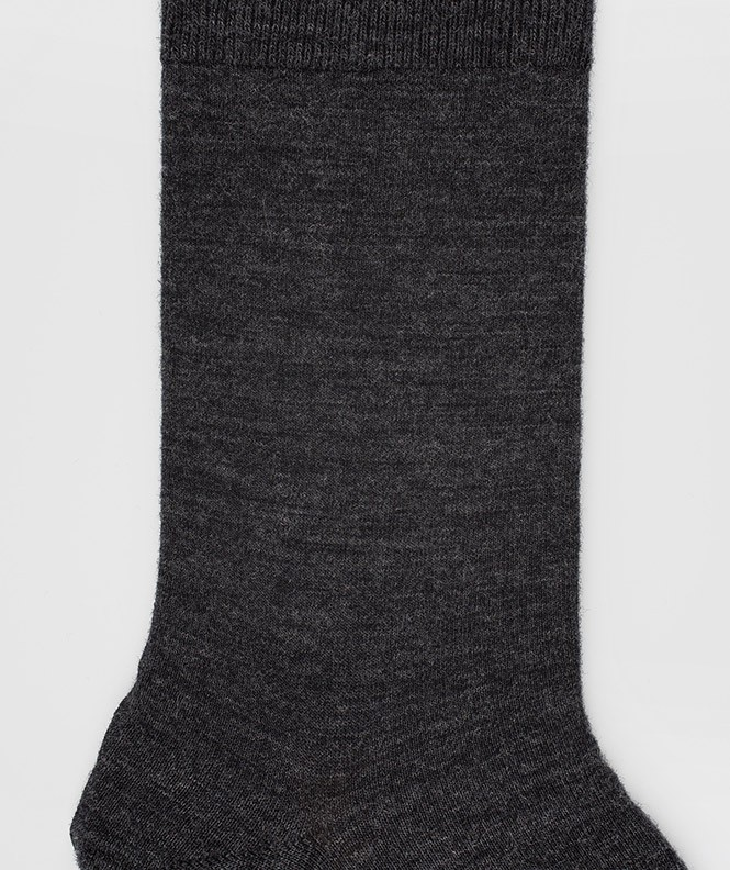 Chaussettes Jersey intérieur coton, extérieur Laine Gris