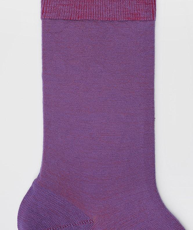 Chaussettes Jersey intérieur coton, extérieur Laine Violet