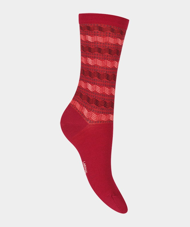 Chaussettes Rayures graphiques Laine Rouge