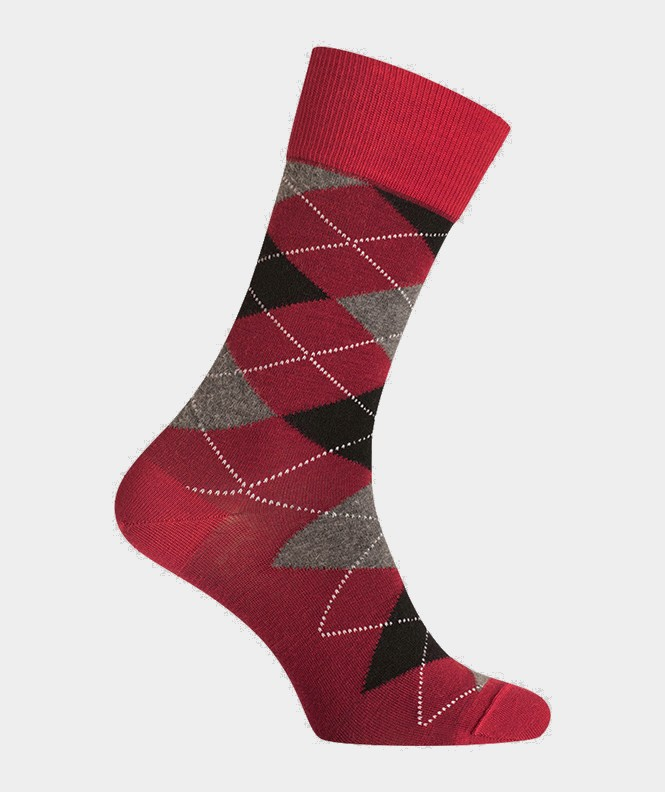 Chaussettes Intarsia Laine Rouge