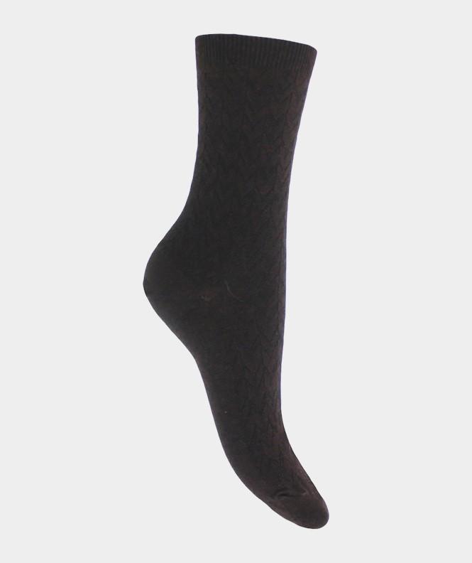 Chaussettes Effets de mailles soie et Laine Noir