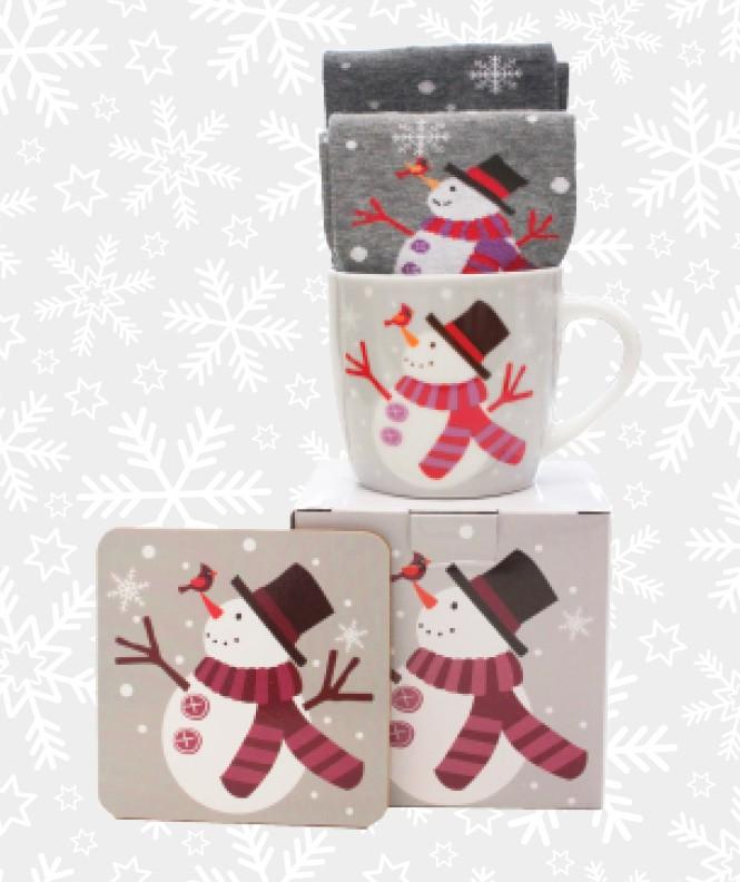 Coffret Cadeau Bonhomme de neige Mug et Chaussettes Coton Assorti