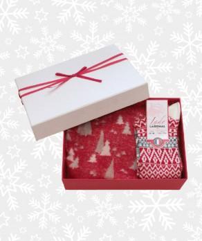 Coffret Cadeau Écharpe et Chaussettes Noël Femme Rouge