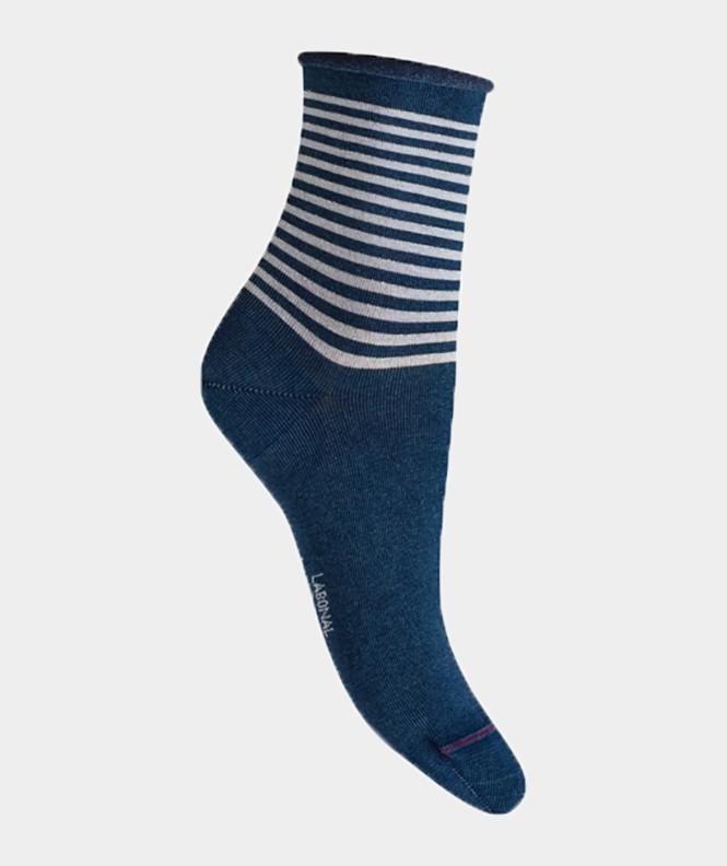 Socquettes effet jean rayures brillantes Coton Bleu indigo