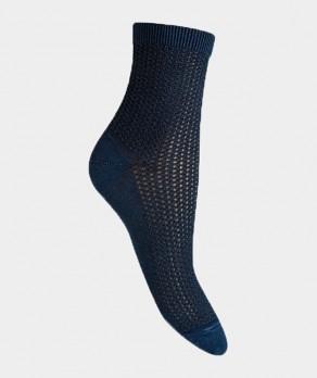 Socquettes effet jean ajourées traforato Coton Bleu indigo