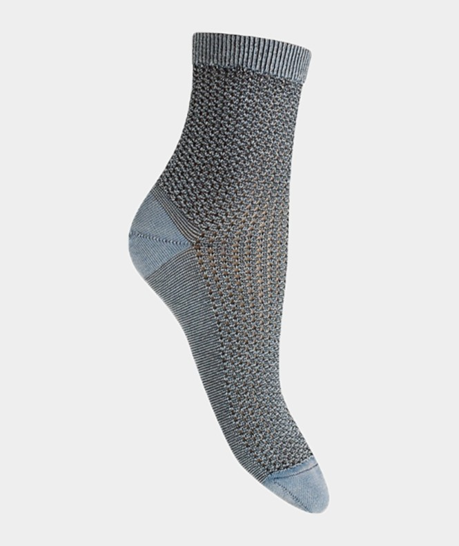Socquettes effet jean ajourées traforato Coton Bleu jean