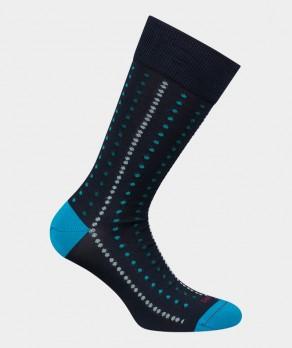 Chaussettes Pois alignés Fil d'écosse Bleu