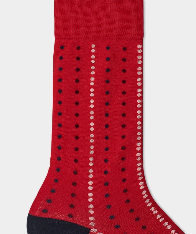 Chaussettes Pois alignés Fil d'écosse Rouge