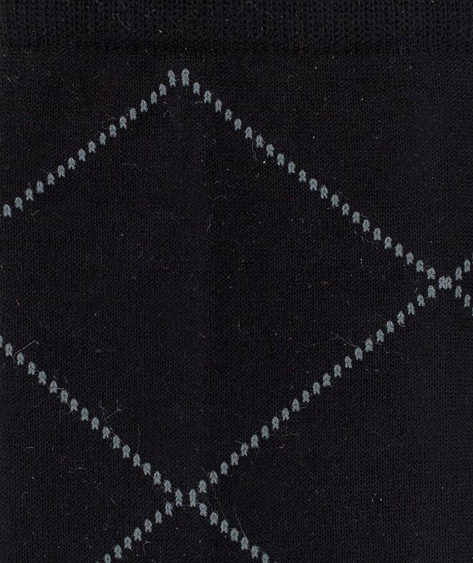Chaussettes Losanges pointillés Fil d'écosse Noir