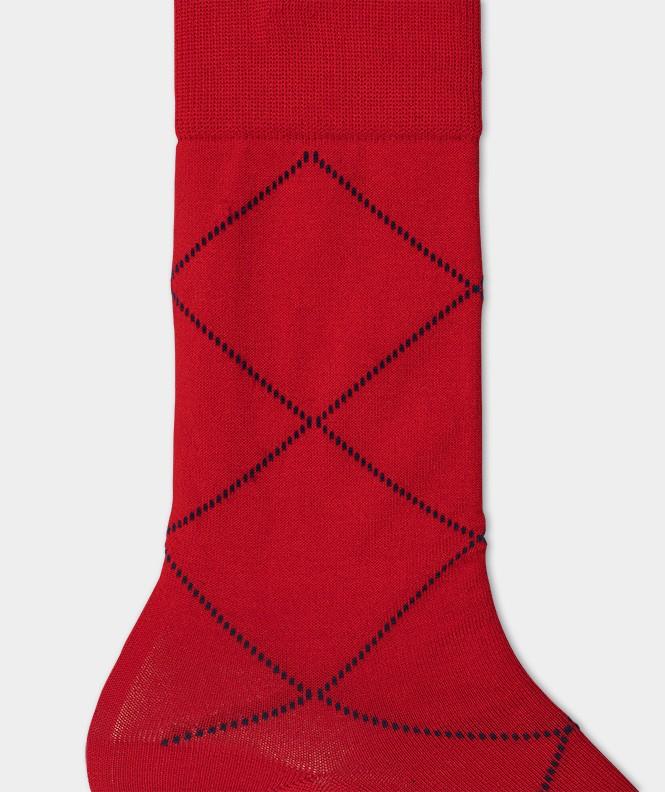 Chaussettes Losanges pointillés Fil d'écosse Rouge