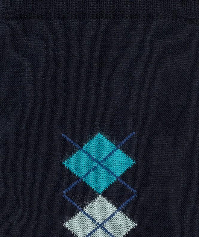 Chaussettes Baguette losanges Fil d'écosse Bleu