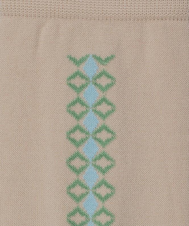 Chaussettes Baguette géométrique Fil d'écosse Beige