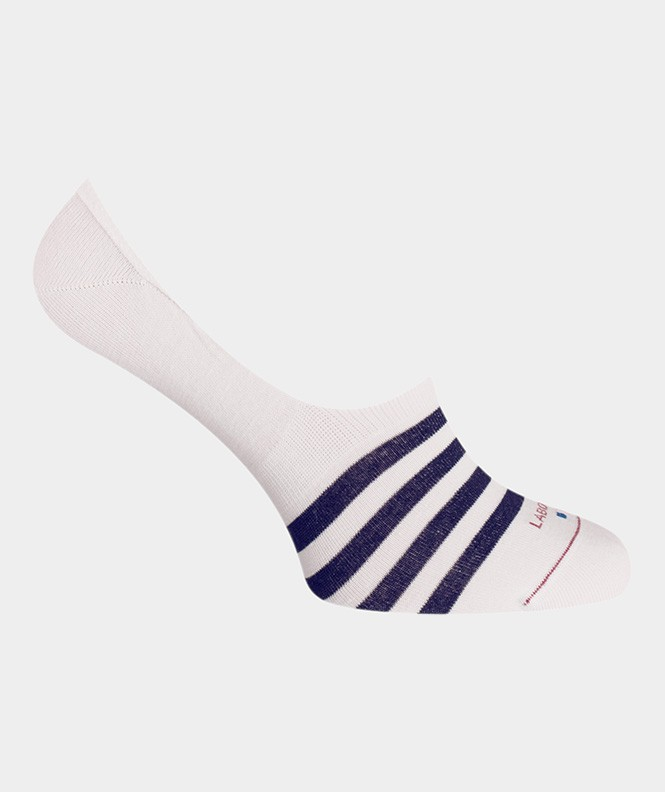 Footlet Rayures Coton Blanc