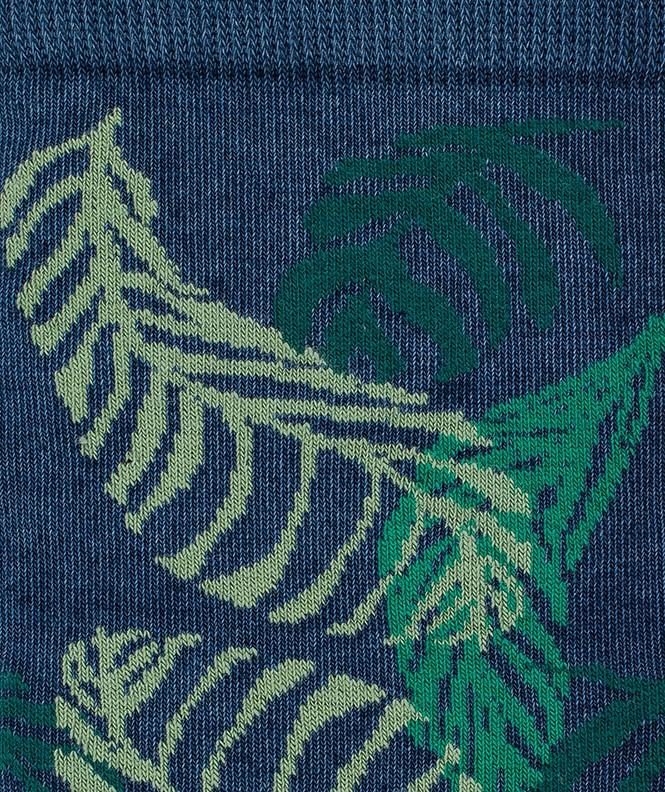 Chaussettes Effet jean feuillage Coton Bleu