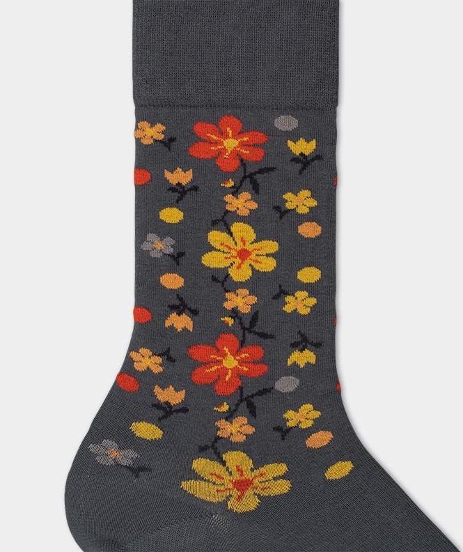 Chaussettes Fleurs all over Coton Gris