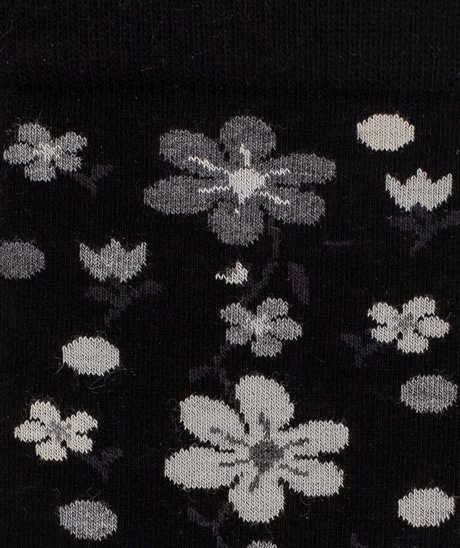 Chaussettes Fleurs all over Coton Noir