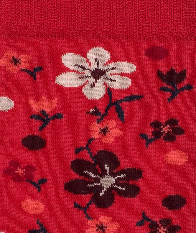 Chaussettes Fleurs all over Coton Rouge