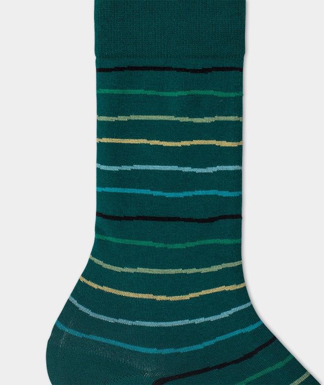 Chaussettes Rayures irrégulières Coton Vert