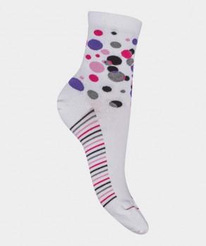 Socquettes Pois multicolores Coton Blanc