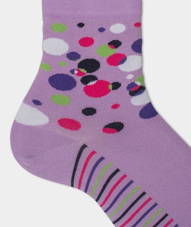 Socquettes Pois multicolores Coton Violet