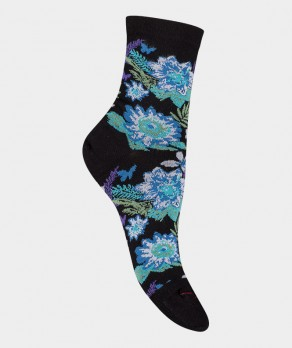 Socquettes Fleurs colorées Coton Noir