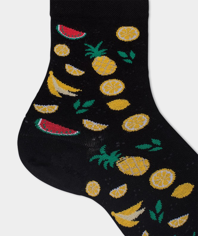 Socquettes Semis fruits Coton Noir