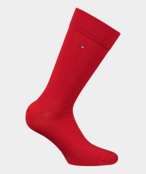 Chaussettes Unies à côtes Fil d'écosse Rouge