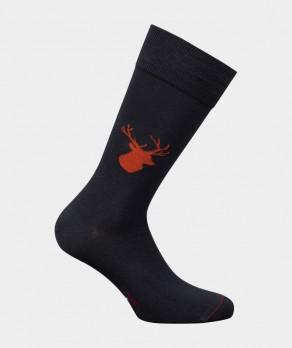 Mi-chaussettes Tête de cerf Coton Gris