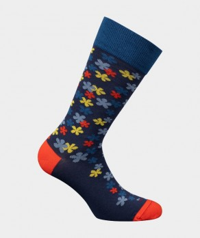 Mi-chaussettes Fleurs Coton Bleu