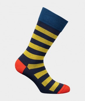 Mi-chaussettes Rayures rugby Coton Bleu