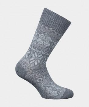 Mi-chaussettes Grosses mailles motifs norvégien bicolores Alpaga et Acrylique Gris